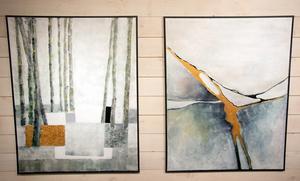 På bilden till vänster målade Kerstin Sandström in fyrkanter som den ravin hon trillade i vid en skidtur. Men hon vill gärna att betraktaren ser något annat.
