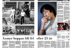 Leif Axmyr kämpade i många år för att få sitt livstidsstraff tidsbestämt. Till slut fastställdes det till 51 års fängelse. Här ett uppslag i Gefle Dagblad från 2007.