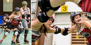 Roller derby är en fullkontaktsport med både tacklingar och blockeringar.