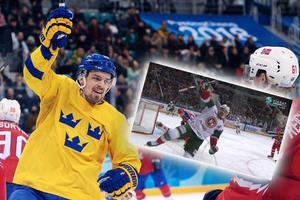 Anton Lander stod för två mål i den fjärde finalmatchen i KHL. Bild: Bildbyrån/Viasat/Skärmdump/Montage