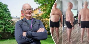 Håkan Jonsson är stolt över den intensiva träning och strikta diet han hållit de senaste månaderna – och förändringen det medfört för formen. När han startade sin hälsoresa i februari i år vägde han 102 kilo. I dag visar hans våg 75 kilo. Foto: Ann Hagman och privata bilder