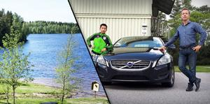 Fotomontage: Privat- och arkivbild. Thomas Kildenfoss och hans son Timo avbröt tältsemestern i Dalarna.