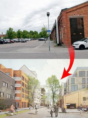 Varmvalsvägen. Det gamla huset till höger bevaras medan nya bostäder byggs på parkeringsplatsen. Foto: Britt-Louise Bergström/Archus Arkitektur