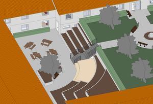 Skissen visar hur innergården vid Solhöjden kan komma att se ut. Skiss: Bärkehus