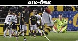 Oscar Linnér deppar efter Filip Rogics 1–1-mål på tilläggstid. AIK-målvakten blev sittande i gräset på grund av skada i den andra halvleken. En skada som ÖSK-kaptenen Nordin Gerzic tvivlar på.