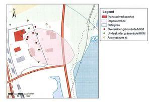 Här förslaget till placering av livsmedelshandel i rött. Det rosa området är den gamla deponin(soptippen) och Limsjön syns längst till höger.