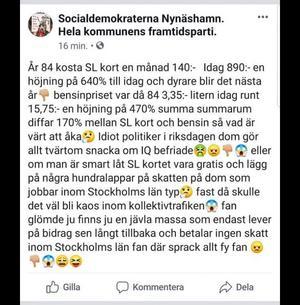 Ett konstigt inlägg delades på onsdagskvällen från de lokala socialdemokraternas Facebook-sida.