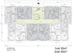 Här är ännu en skiss över det nya lägenhetshuset på Höjdvägen. Detta är över entrévåning med markplanets lägenheter i det planerade kombohuset. Foto: Ockelbogårdar AB.