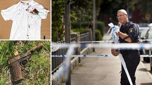 Polis tar bort avspärrningar efter skottlossningen den 29 juli 2017 på Tessingatan. Övriga bilder från Polisens förundersökning.