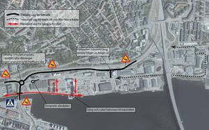 Illustration över hur trafiksituationen kommer att se ut kring Skepparplatsen under ombyggnaden.