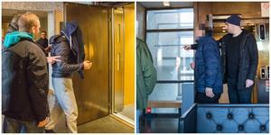 Till vänster 42-åringen som förs av civilklädda poliser till hissen och vidare mot häktet. Till höger 77-åringen som förs mot rättssalen av civilklädd polis.