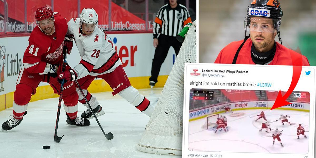 Så nära var Bromé drömstart  i NHL-debuten i natt – delade ut Foppa-tackling och prickade ribban ►Se situationen