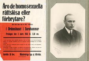 Bruksarbetaren Erik Thorsell var en pionjär för homosexuellas rättigheter i Sverige under en tid då homosexualitet var kriminaliserat. Affisch från Riksarkivet.
