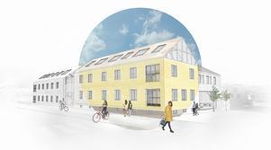 Vid Västra Tullgatan och ner mot Drottninggatan blir det kontorslokaler i de nuvarande byggnaderna, som kommer moderniseras. Foto: Pressbild
