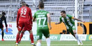 Jeppe Andersen firar efter1-0-målet. Foto Erik Simander / TT