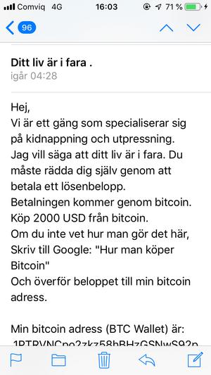 I mailet kräver avsändaren pengar i form av bitcoin. Polisen uppmanar de som fått mailet att inte svara, följa instruktioner eller betala.