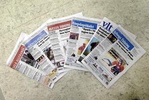 Några av Mittmedias tidningar. Foto: Peter Krüger