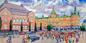 Konstnären Leif Ahnlund har målat det här förslaget till hur Stora torget och Igor skulle förändras.