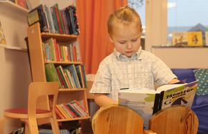 """4-åriga Melgot älskar att få gå till biblioteket och allra helst för att få se på teater. """"Jag älskar teater och har sett den bautamånga gånger"""", säger han."""