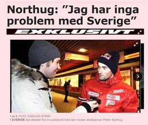 Faksimil från aftonbladet.se från intervjun då dåvarande reportern Oskar Magnusson överraskade Petter Northug med en