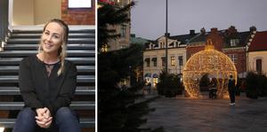 Sanna Gerhardsson, marknadskoordinator på Skövde city, som tillsammans med Maria Leo har arbetat för att nå ut mer till företag med citypresentkortet. Det har lyckats, då man kan se en femdubblad försäljning i år.