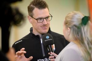 Johan Thelin i vår livesändning efter träningen.
