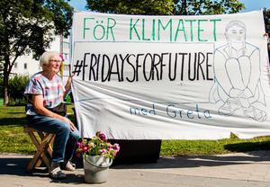 Varje fredag deltar Britt Åström i klimatmanifestationen på gågatan mellan Guldsmeden och Hemköp i Hudiksvall.