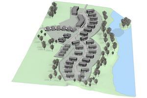 Så här skulle området kunna se ut, en blandning av radhus och villor ganska nära Glasbergasjön. I samband med planändring vill kommunen också se över vägarna då det bara finns en in- och utfart i Glasbergas nordvästra del.Skiss: Södertälje kommun