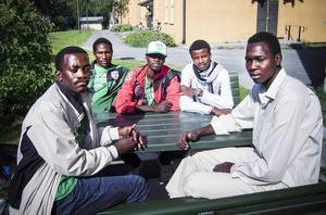 Fotbollen förde dem till Sverige. Nu söker de fem spelarna från Darfur asyl. Från vänster: Ismail Abdulrhman Ibrahim SadElnour, Mubarak Addullah Ahmed, Mahamed Mohoud Annam, Sadam Hissien Dine Haran och Bishara Khalil Bdrkamau Sharife.
