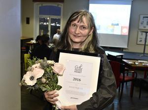 STOCKHOLM 20161114Författaren och illustratören Anna Höglund tog på måndagen emot Astrid Lindgren-priset av förlaget Rabén & Sjögren i Stockholm. Priset för hon med motiveringen att hon