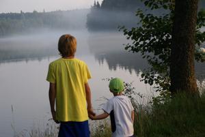 Kusinerna Vicing 12, och Fabian 3, hemmahörande i Strömsholm respektive Surahammar tittar ut över det trollska scenario som uppstog efter regnet.