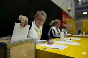 Av Borlänges 37 950 röstberättigade deltog 36 670 - 81,4 procent - i valet till kommunfullmäktige. Flest röster fick Socialdemokraterna med 38,7 procent, följt av Moderaterna, 18,1 procent, och Sverigedemokraterna, 10, 9 procent. Foto:JESSICAGOW / SCANPIX