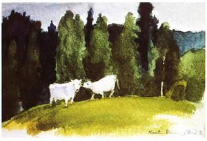 """""""Fjällkor på Åkerholmen"""", akvarell av Kerstin Bränngård från Storholmsjö 1992."""