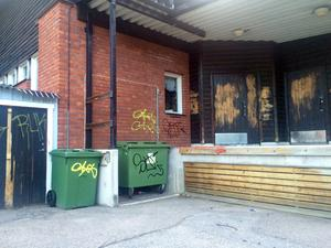 Ett flertal av Bergviksskolans byggnader har drabbats av klotter.