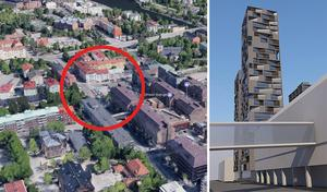 På parkeringen vid gamla polishuset, intill Nygatan mellan Jovisgatan och Gästgivaregatan, vill fastighetsägaren uppföra ett hus med fyra höga torn, ett i vardera hörn av byggnaden. På skissen ses i förgrunden den upphöjda gångbron som går över Nygatan in i Lunahuset.