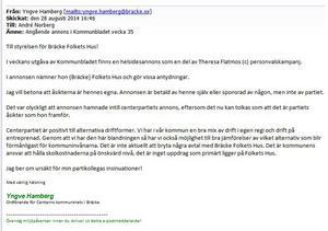 Mejlet från Yngve Hamberg till Folket hus styrelse.
