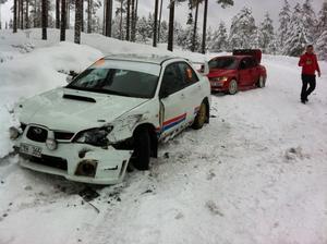 Enda dalaföraren Hasse Gustafsson krockade med sin träningsbil under onsdagens träning.