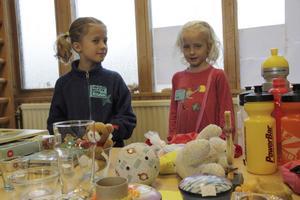 ville hjälpa. Syskonen Siri och Tuva Wetterholm på Brandthovdaskolan kom på idén att ordna någonting på skolan för att hjälpa barn som är på flykt. Det blev en loppis där pengarna från försäljningen går till UNHCR.Foto: Daniel Berglund