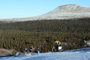 Alpina träningsgrupper på gammal snö. Här är det skidungdomar från Torsby alpina gymnasium som tränar.