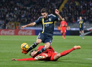 Jimmy Durmaz i aktion mot Turkiet i landskampen i onsdags.