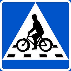 Så ser den nya cykelöverfartsskylten ut som visar att bilister ska ge företräde till cyklister.