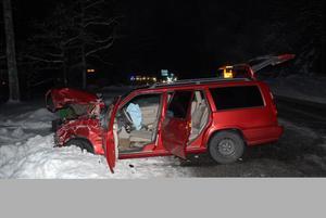 Så här såg en av de inblandade bilarna ut efter olyckan.