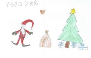Tova 7år från Gävle, har ritat en tomte, julgran och julklappar. God Jul!