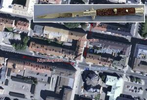 Polisens karta visar vart knivskärningen skedde och platsen där man hittade den kniv som använts.