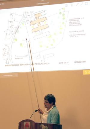 Monica Forsgren (S) hade den tacksamma uppgiften att berätta om och lägga förslaget på nytt demensboende för 75 miljoner i Smedjebacken. Ett bygge som beslutades i full politisk enighet.