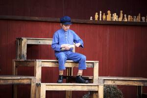 Emil där han håller till titt som tätt, i snickerboa. Emil spelas av Walter Riddar Palm från Hackås.