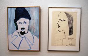 Jag i svinkallt, heter Hans Vikstens självporträtt från 1966, intill hänger en tuschteckning av Desy från 1963,.