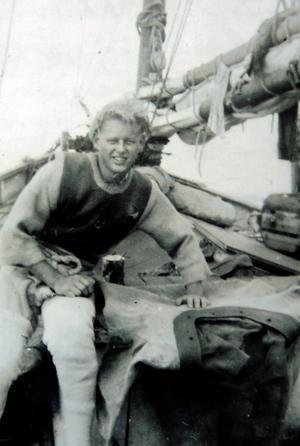 Kent Sjögren ombord på en av de pärlfiskeluggers han tjänstgjorde som dykare på under några år på 1950-talet.