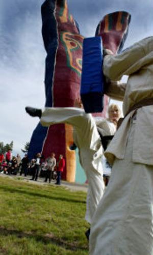 Söråkers karateklubb Kyokushin passade på att ragga nya medlemmar under Y-festen som ägde rum vid turistbyrår i skuggan av Y:et under söndagen. Här är det Eva Jagebo Bonnerud som visar några karatesparkar för en intresserad publik.