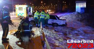 En man skadades i trafikolyckan.